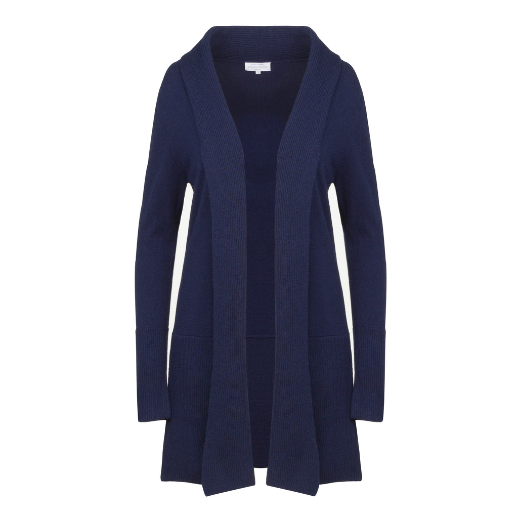 Cashmere Edge to Edge Cardigan in French Navy