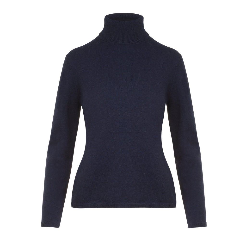 Ladies Cashmere Polo Neck in Navy