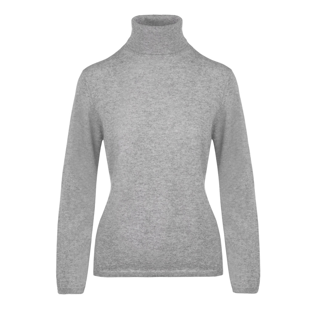Ladies Cashmere Polo Neck in Silver Grey