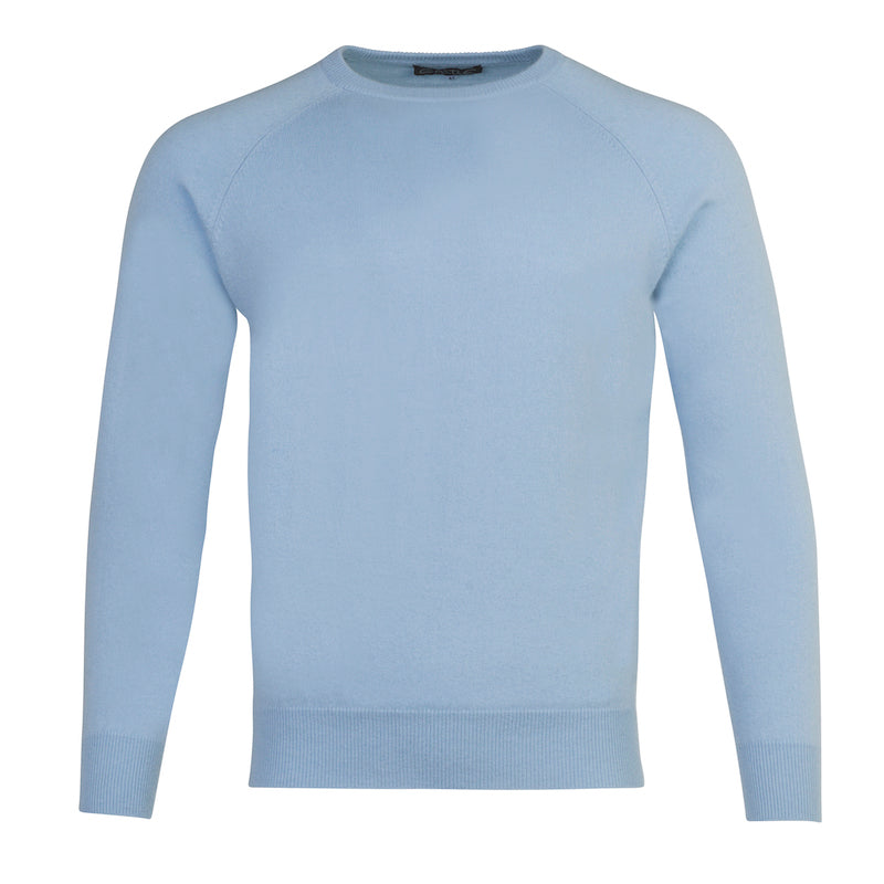 Men's Cashmere Crew Neck in Baby Blue