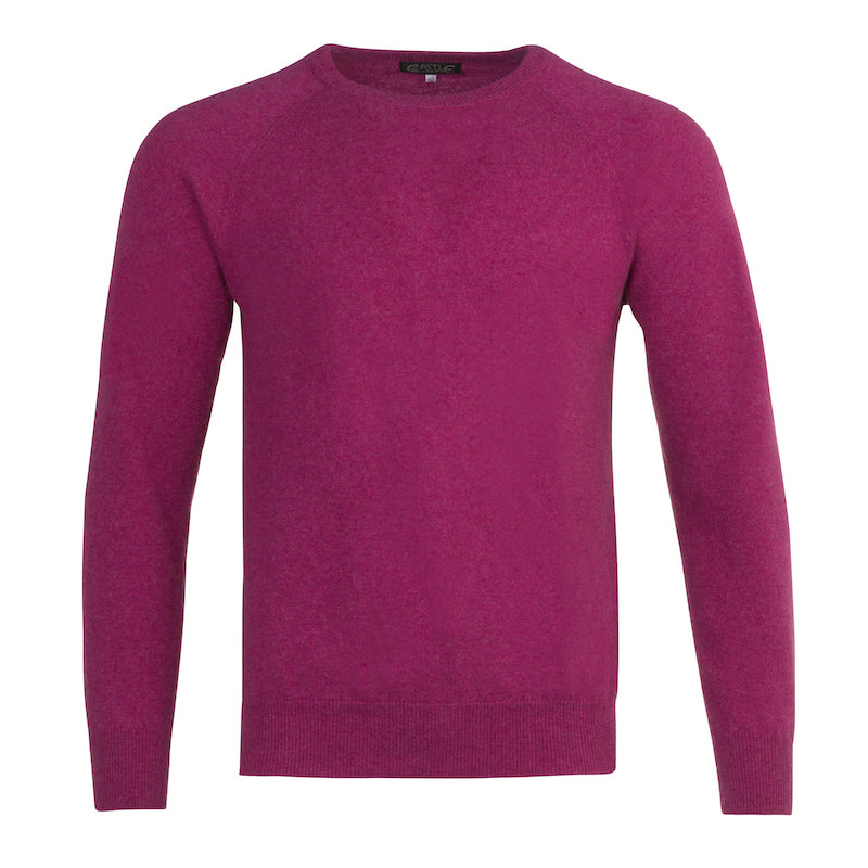 Men's Cashmere Crew Neck in Loganberry