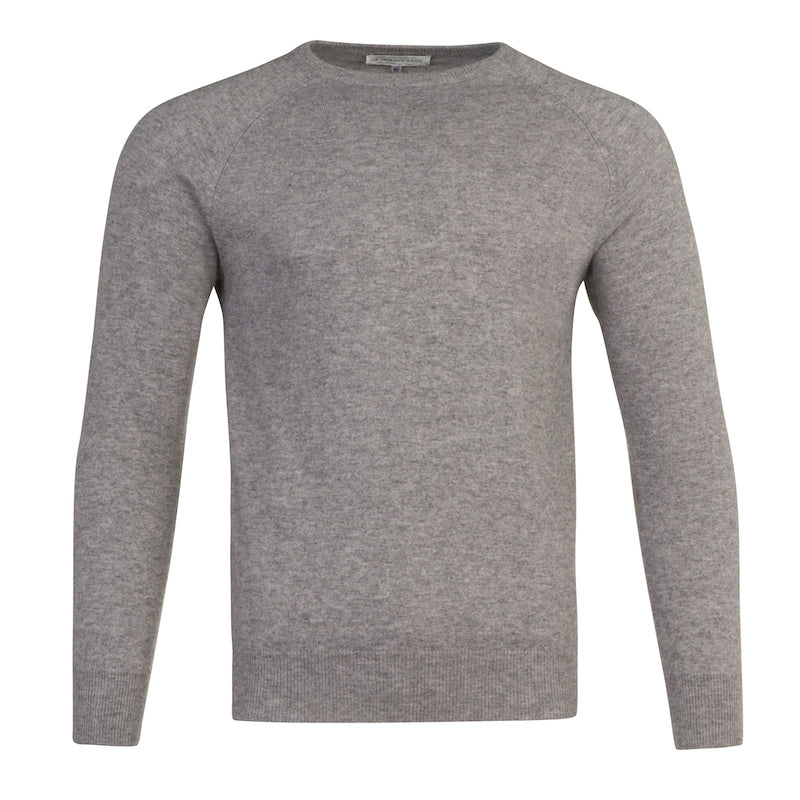 Men's Cashmere Crew Neck in Silver Grey