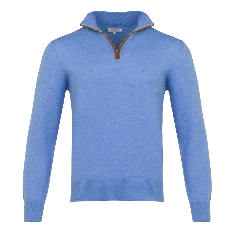 Half Zip With Leather Trim in Azure blue