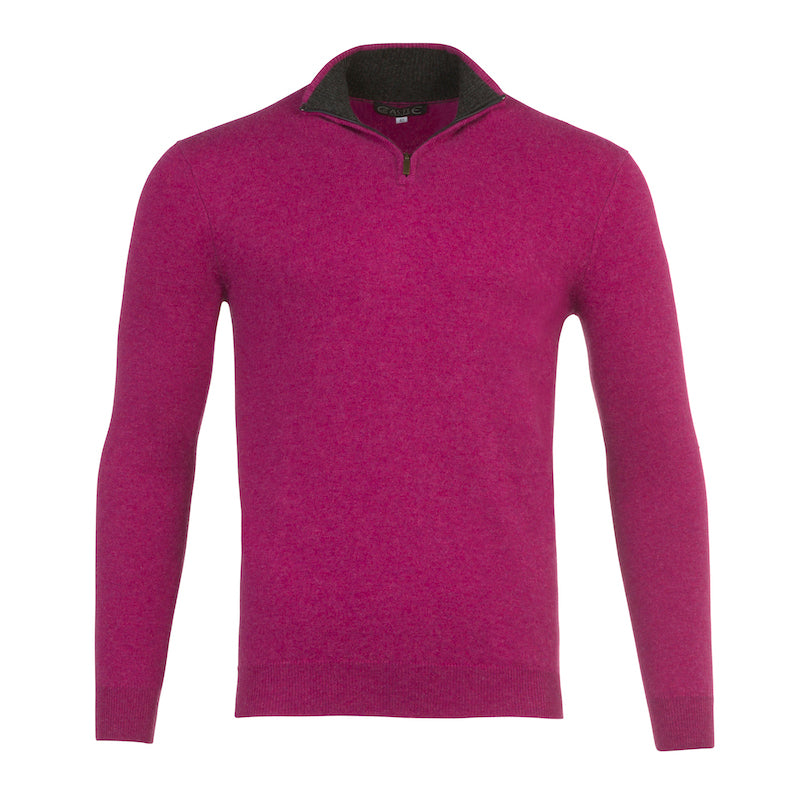Half Zip Two Tone Collar in Loganberry