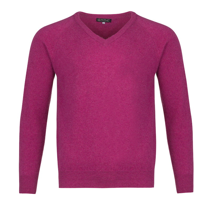 Men's Cashmere V-Neck Sweater in Loganberry