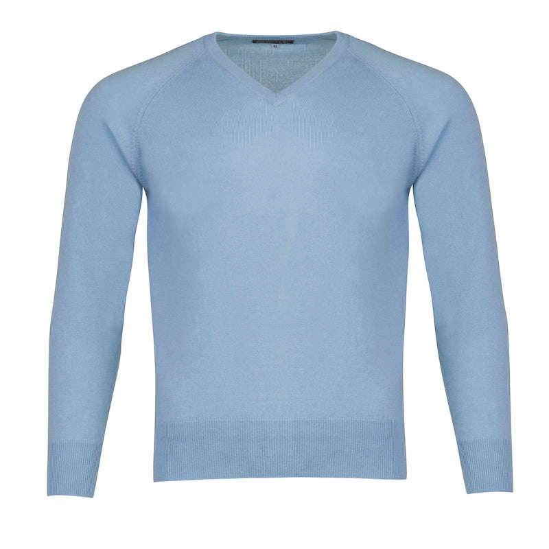 Men's Cashmere V-Neck Sweater in Baby Blue