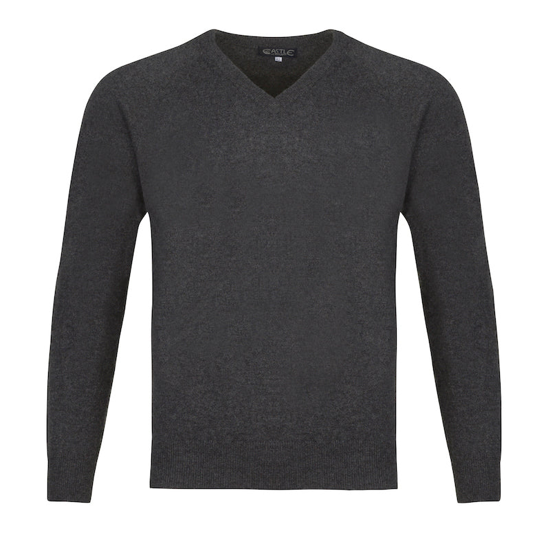 Men's Cashmere V-Neck Sweater in Charcoal Grey