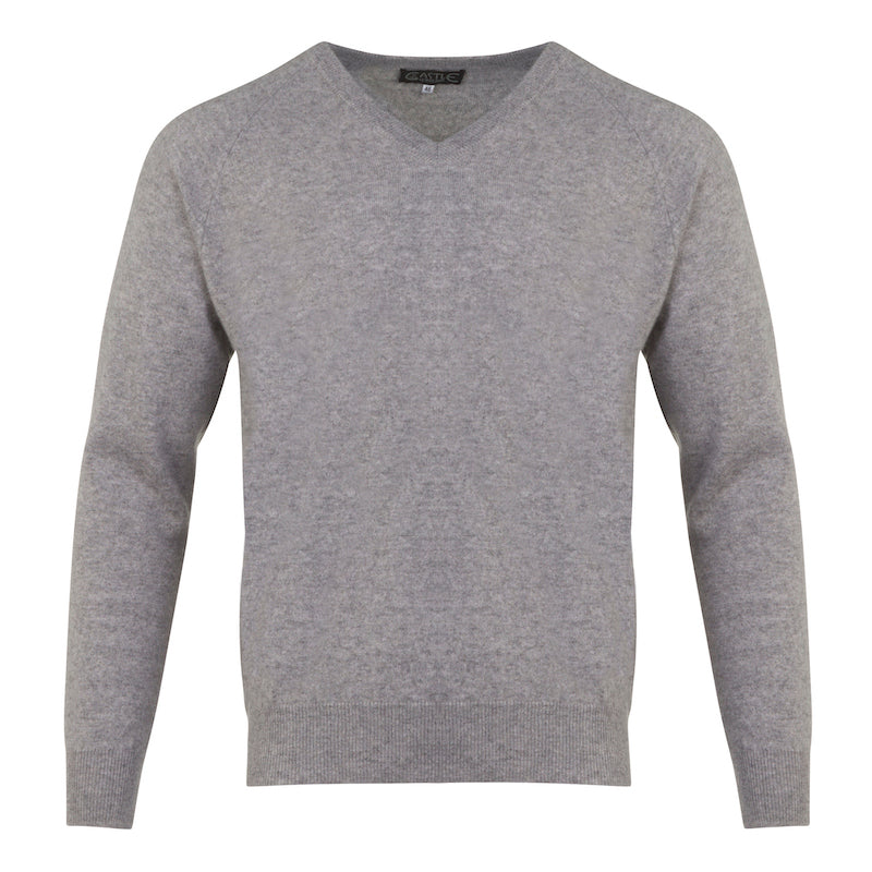 Men's Cashmere V-Neck Sweater in Silver Grey
