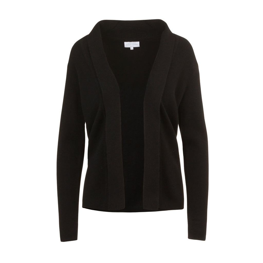 Ribbed Cashmere Cardigan in Black