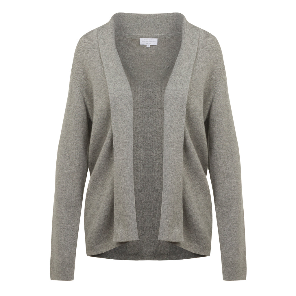 Ribbed Cashmere Cardigan in Silver Grey