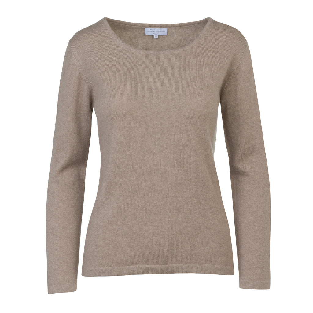 Women's Scoop Neck Cashmere Sweater Oatmeal