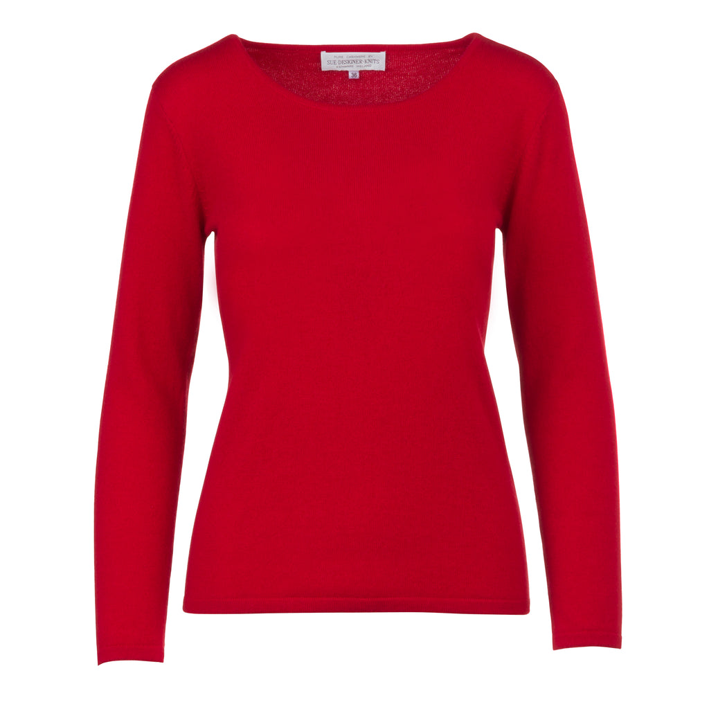 Women's Scoop Neck Cashmere Sweater in Soft Red