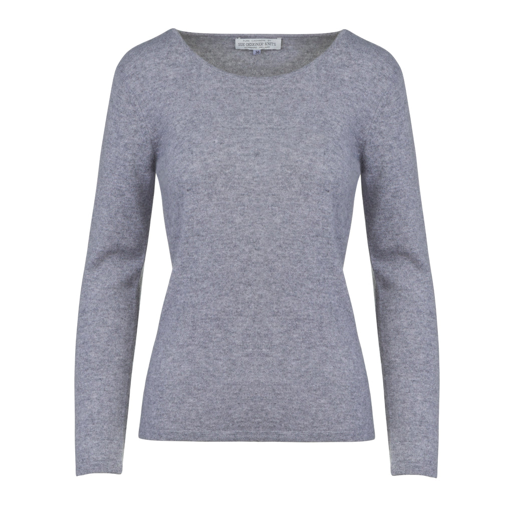Women's Scoop Neck Cashmere Sweater in Silver Grey