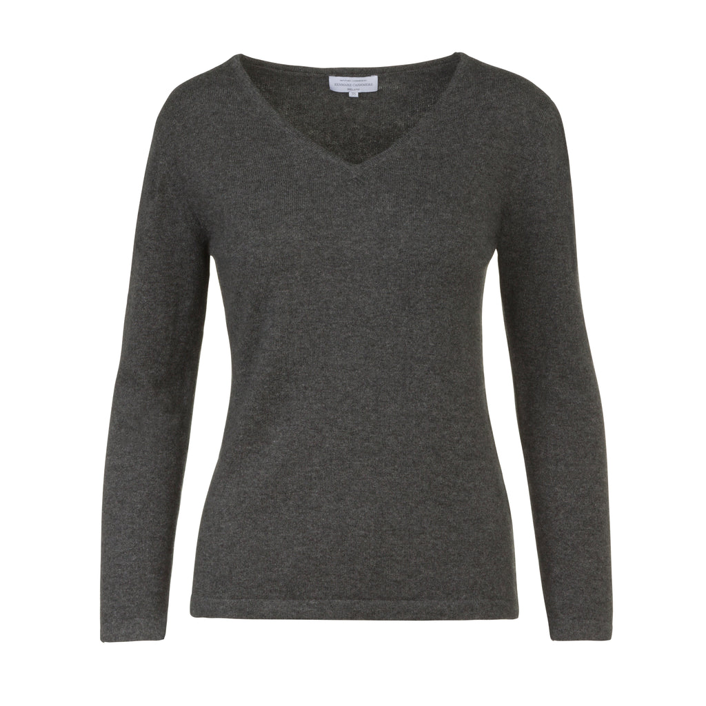 Women's V-Neck Cashmere Sweater in Charcoal Grey
