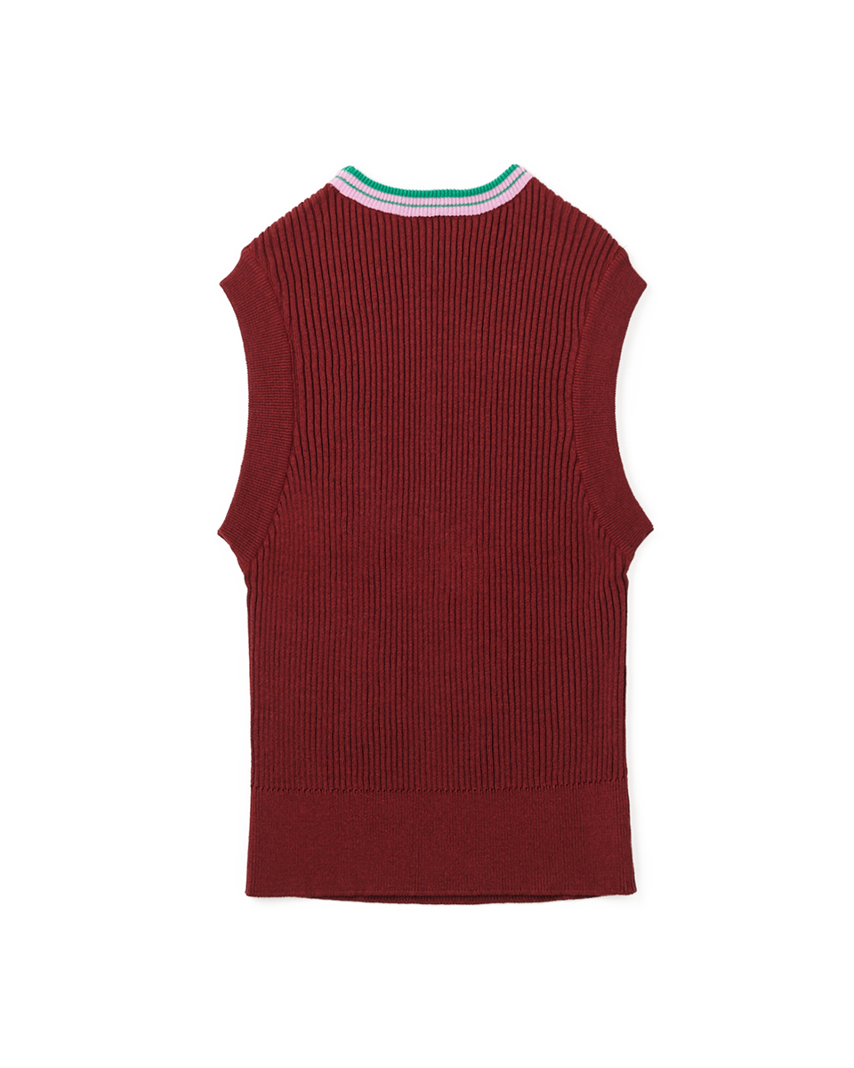 [SALE] Linen Rib Knit Vest - 79 M.wine
