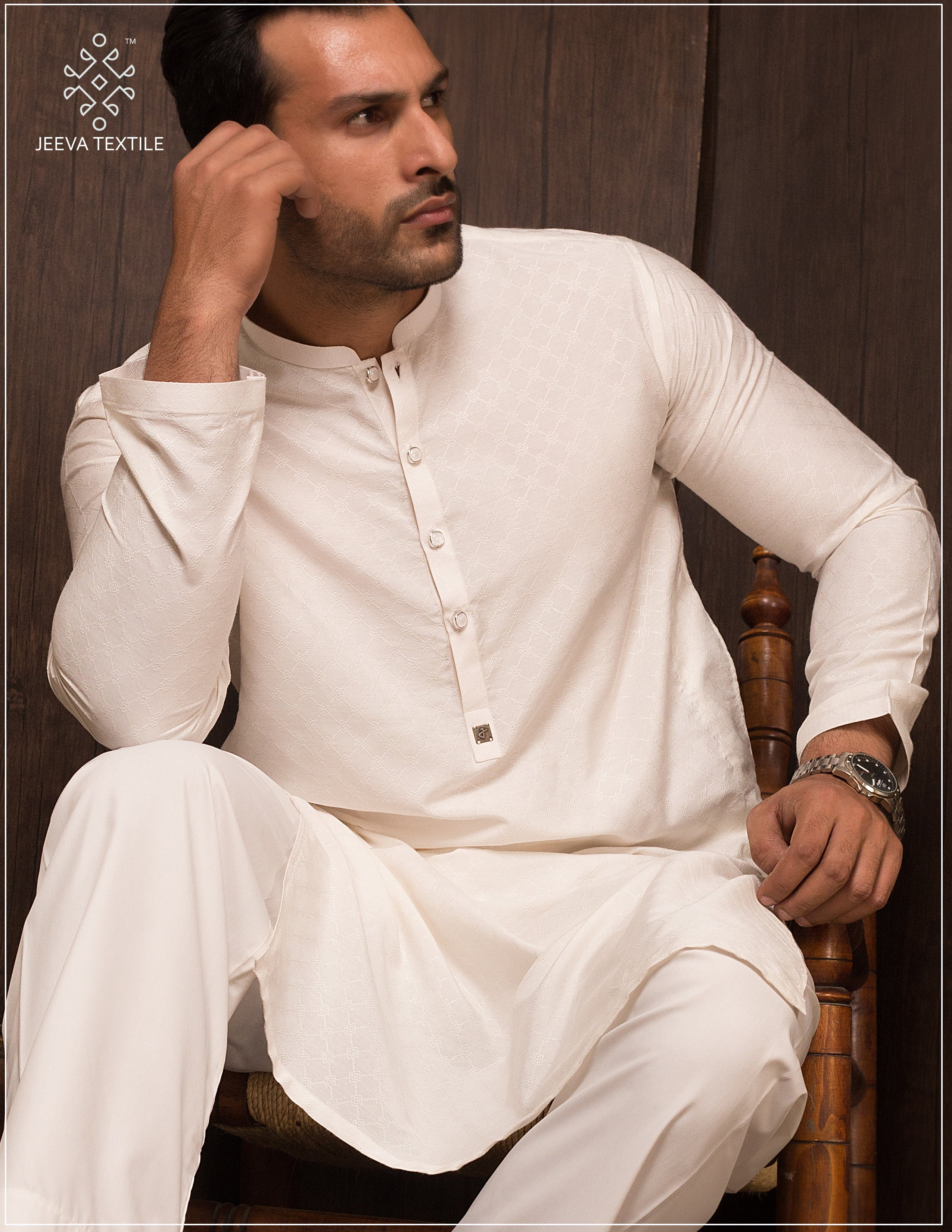 WHITE KHADDI MADE JAQUARD KURTA