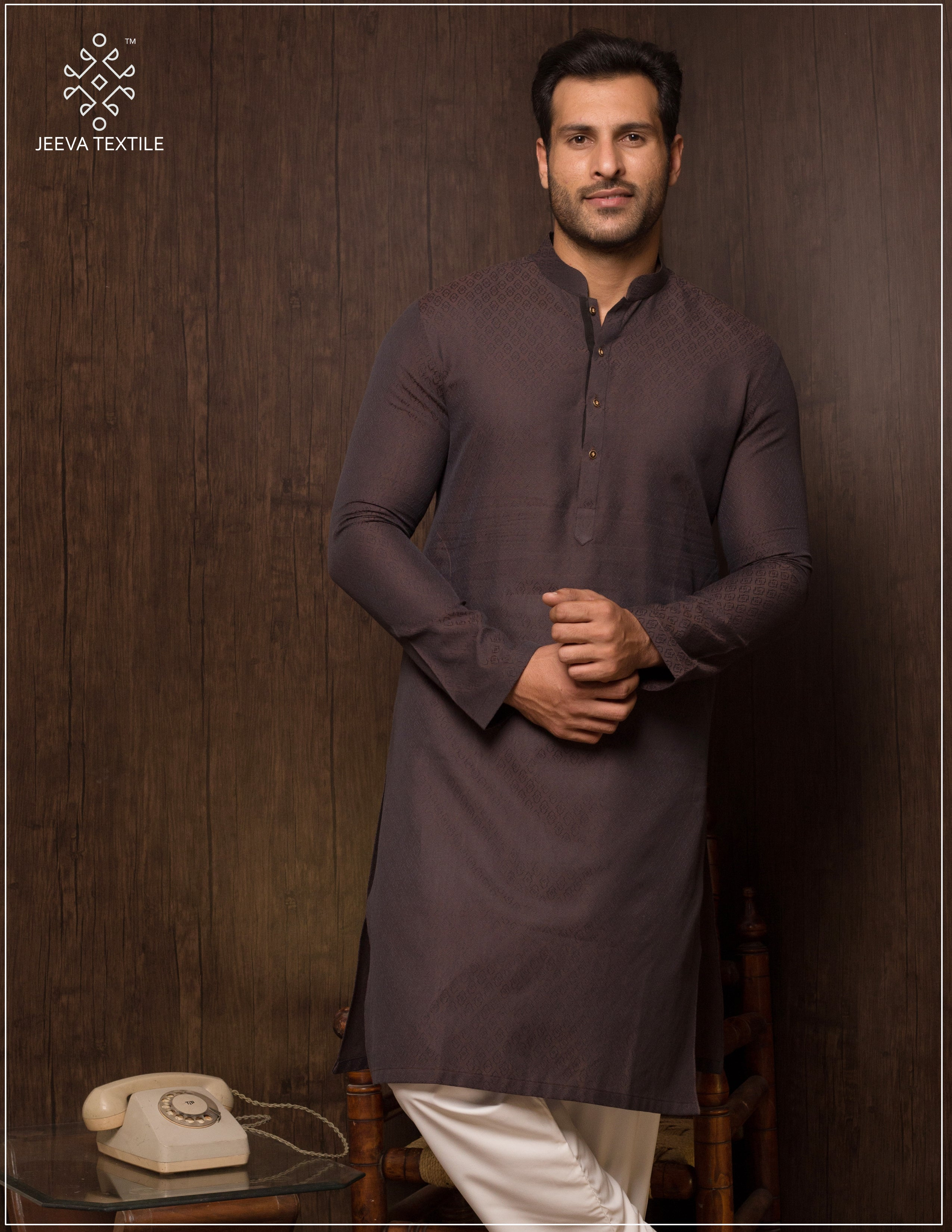 DARK CHOCOLATE KHADDI MADE JAQUARD KURTA