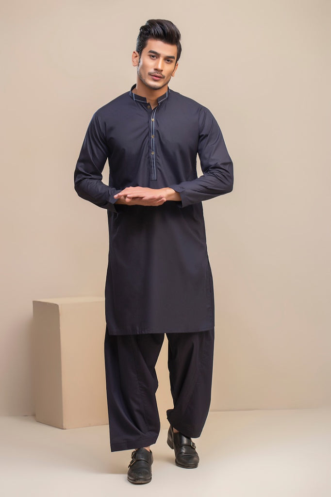 Royal Blue Emb Wash n wear Kameez Shalwar
