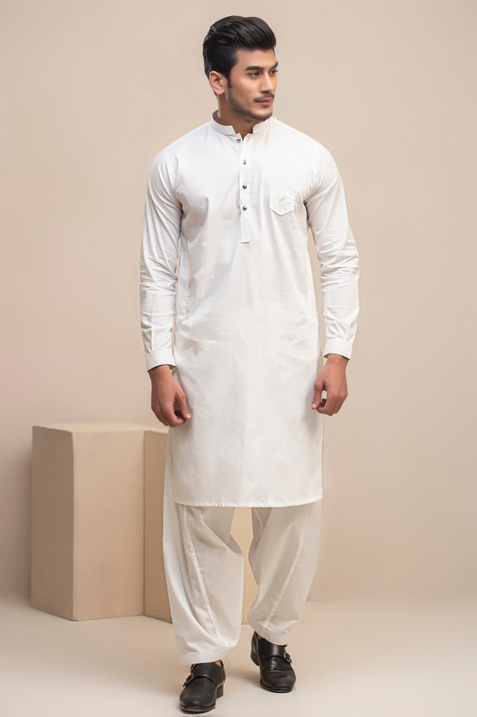 Off White Cotton Kameez Shalwar