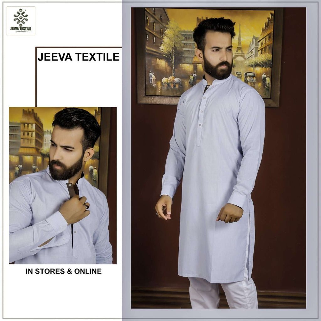 light denim blue cotton kurta