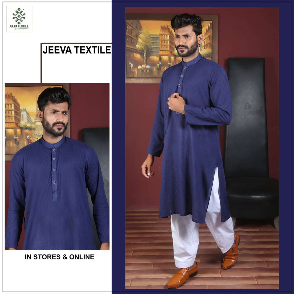 royal blue texture Cotton kurta