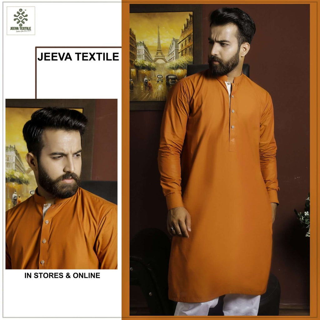 Rust cotton kurta