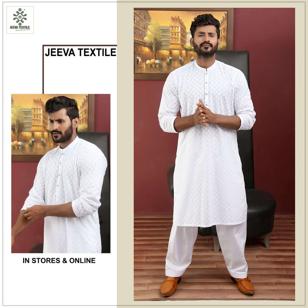 white chikan cotton kurta
