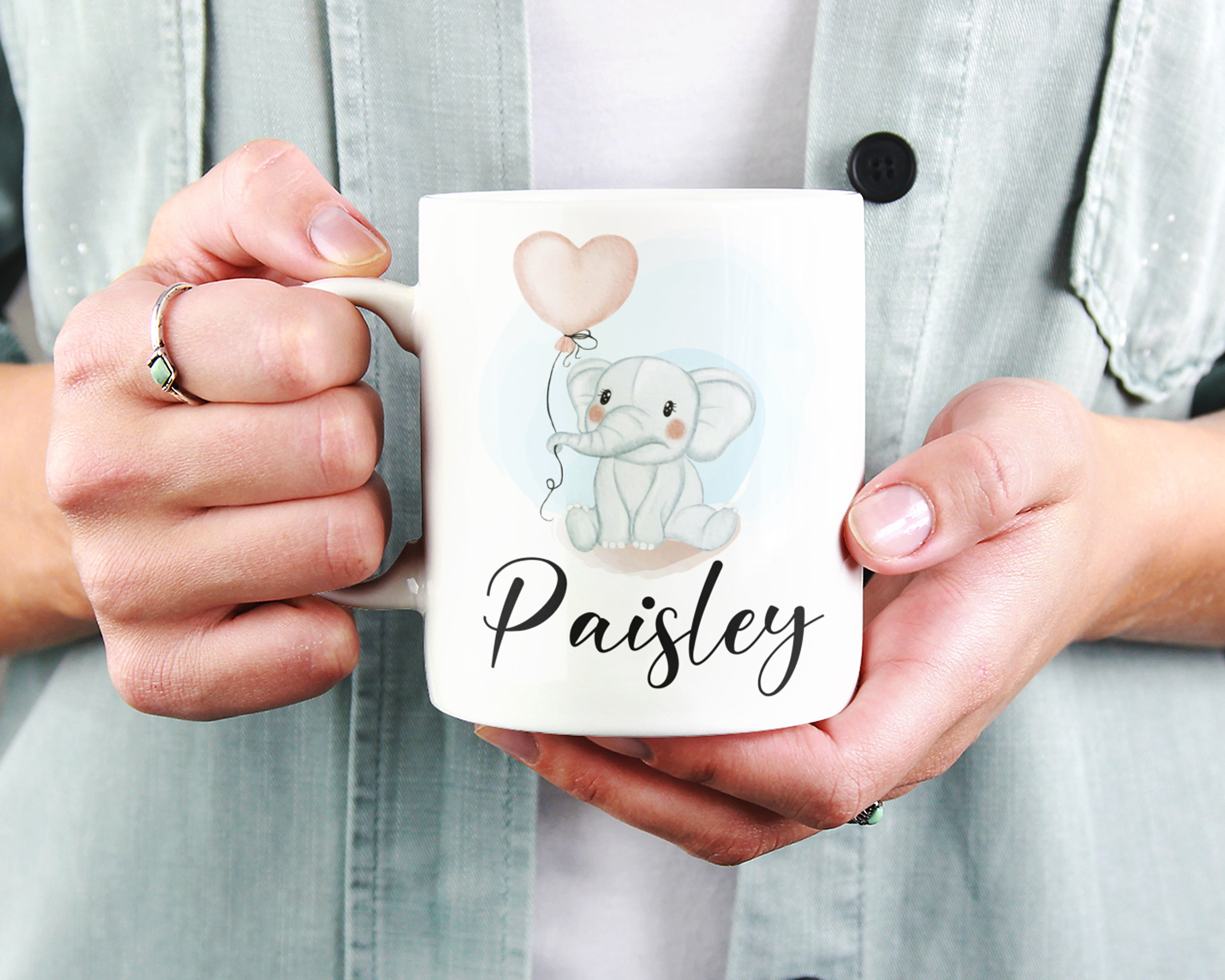 Elephant Mug – Personalized Name on Coffee Cup - HoneyCustom