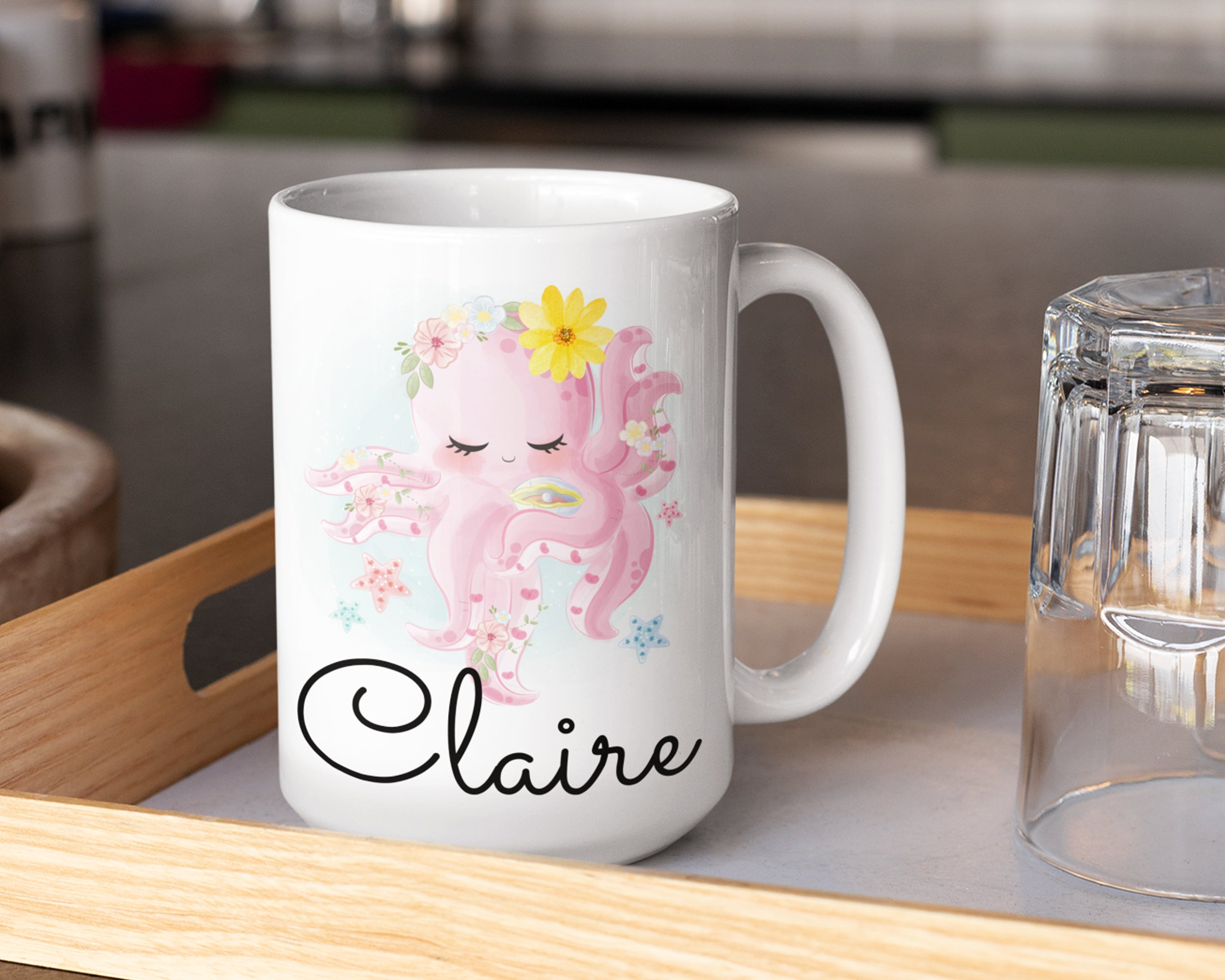 Cute Octopus Mug – Personalized Name on Coffee Cup - HoneyCustom