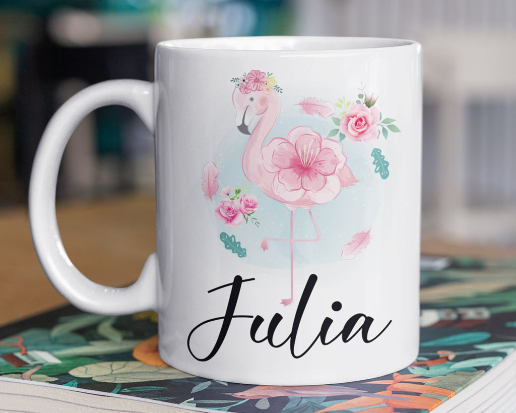 Flamingo Mug – Personalized Name on Coffee Cup - HoneyCustom