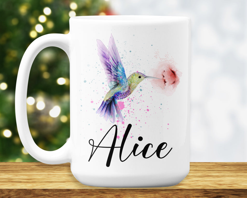 Hummingbird Mug – Personalized Name on Coffee Cup - HoneyCustom