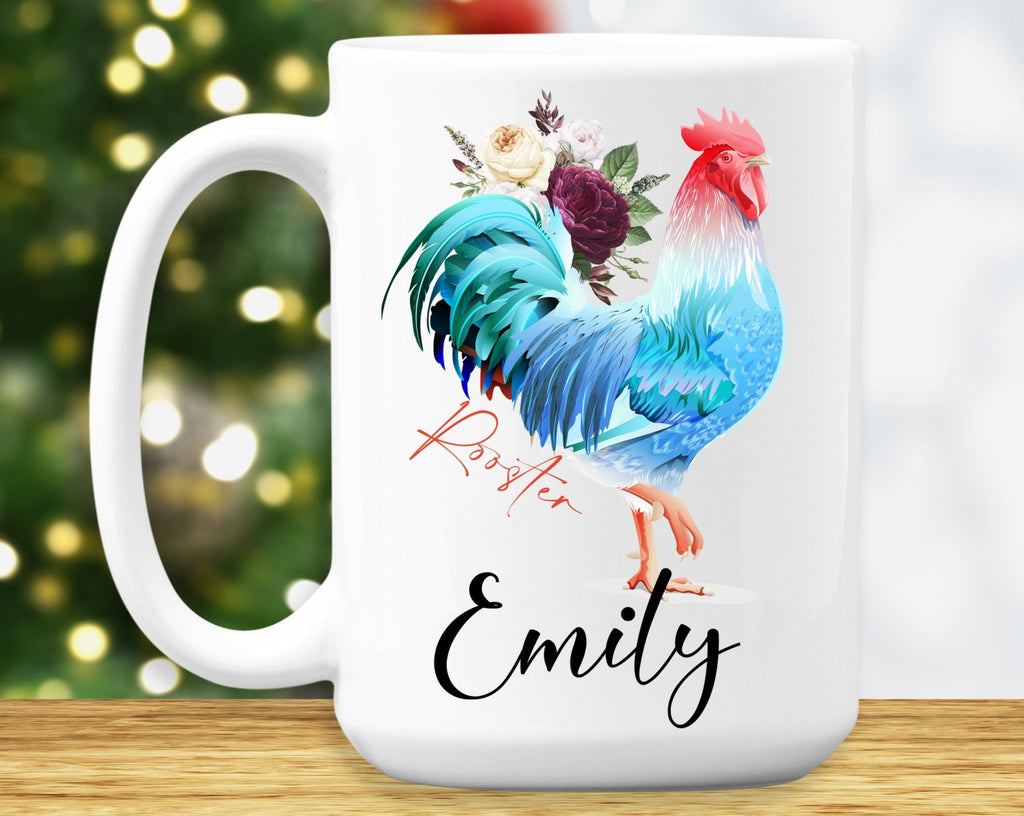Rooster Mug – Personalized Name on Coffee Cup - HoneyCustom