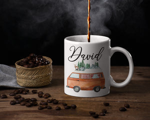 RV Camper Mug - Camping Lover – Personalized Name on Coffee Cup - HoneyCustom