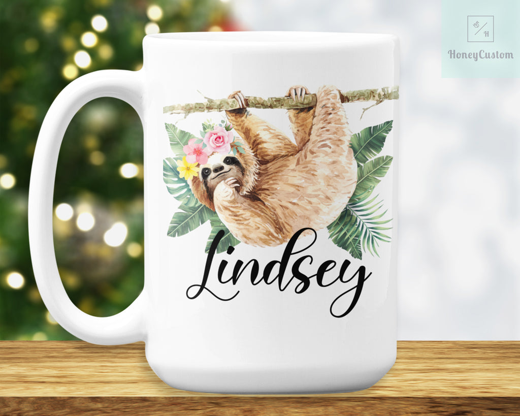 Sloth Mug – Personalized Name on Coffee Cup - HoneyCustom