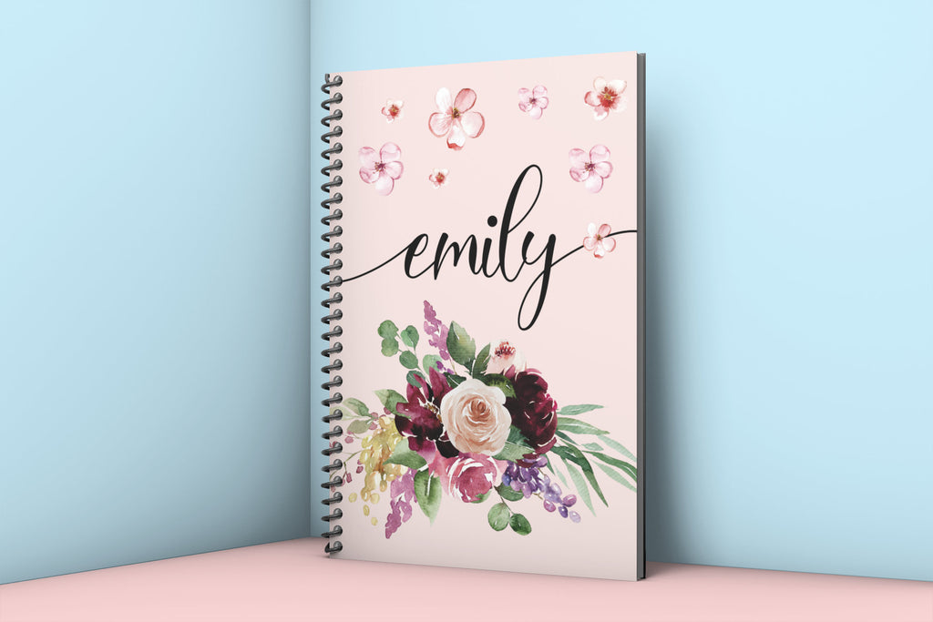 "Custom Flower Notebook, Personalized Custom Name Floral Spiral Notebook, Travelers Notebook, Gifts for Women, Gift for Her, 8""x6"" - HoneyCustom"
