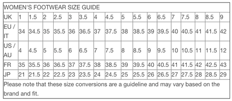 ladies footwear size guide