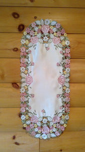 12 X 18 Oval Table Accent Victorian Rose Pattern
