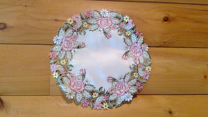 "12"" Round Table Accent Victorian Rose Pattern"