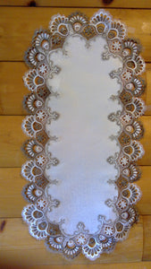 16 x 43 Oval Table Accent Cocoa Lace Pattern