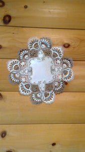 "8"" Square Table Accent Cocoa Lace Pattern"