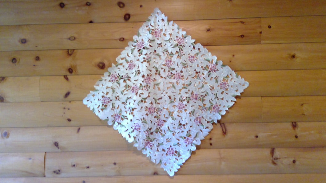 43 x 43 Square Table Accent Pink Cottage Rose Pattern