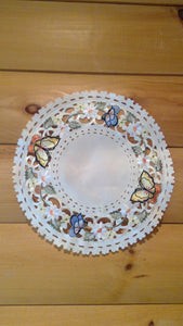 "24"" Round Table Accent Butterfly Pattern"