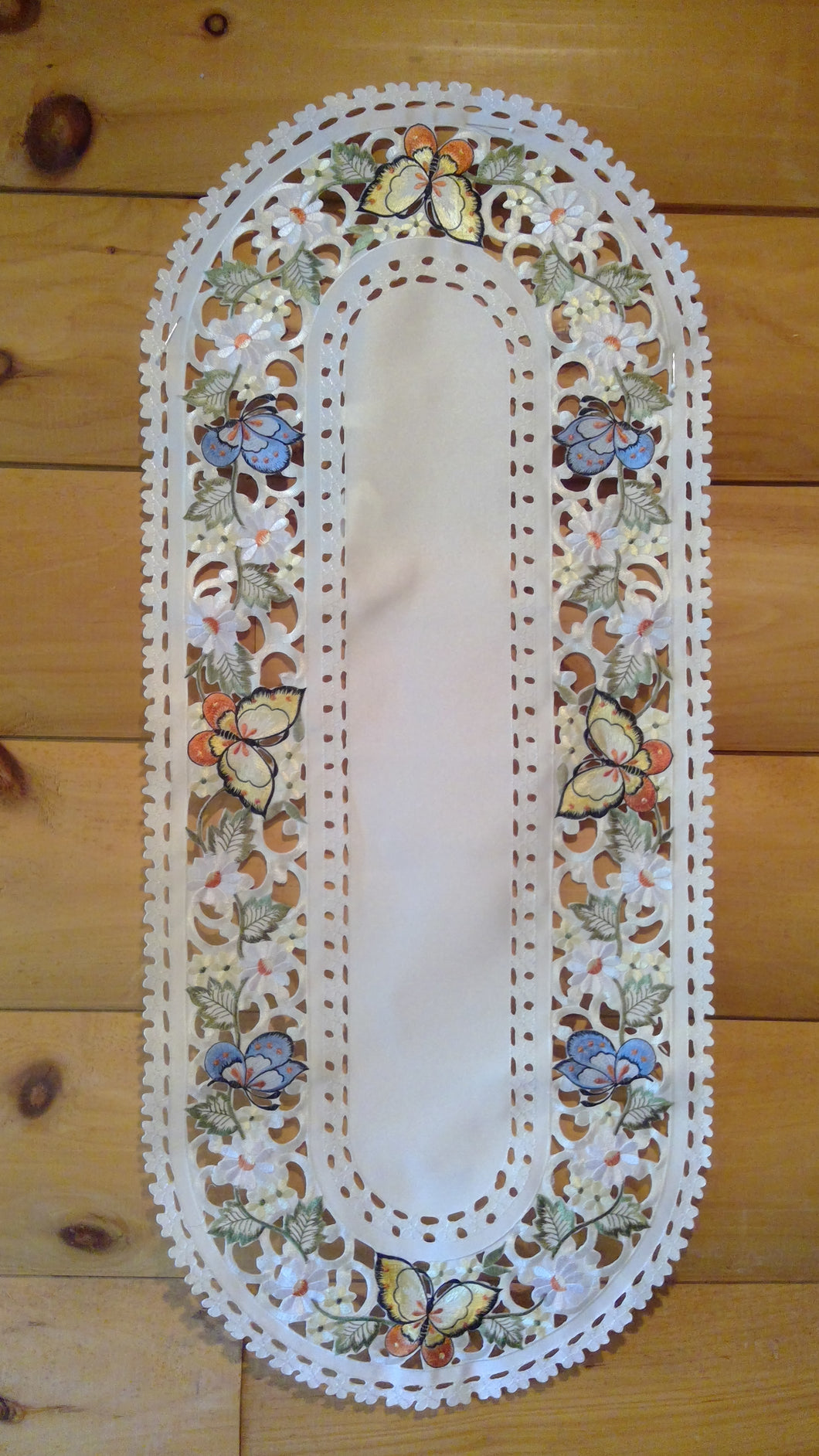 16 x 43  Oval  Table Accent Butterfly Pattern