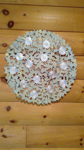 "24"" Round Table Accent White Daisy Sage Green Pattern"