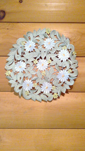 "12"" Round Table Accent White Daisy Sage Green Pattern"