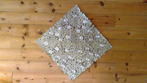 33 x 33 Square Table Accent White Daisy Sage Green Pattern