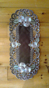 16 x 35 Oval Table Accent Silver Daisy Pattern