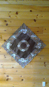 33 x 33 Square Table Accent Silver Daisy