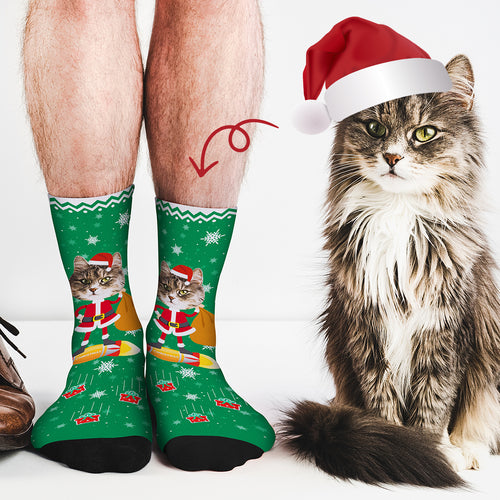 Custom Face Socks Funny Christmas Santa Claus