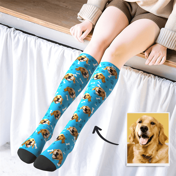 Custom Face Knee High Socks Dog